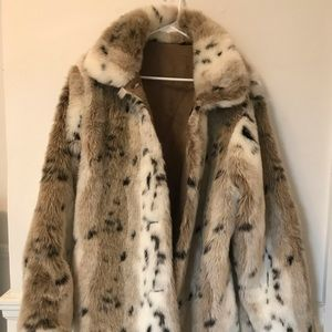 White Faux Fur Animal Print Coat Size Large